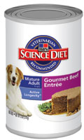 Science Diet Mature Adult Active Longevity Gourmet Beef Entree Canned Dog Food